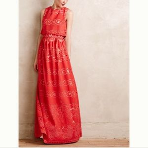 Anthropologie Erin Fetherson Coral Lace Maxi Dress